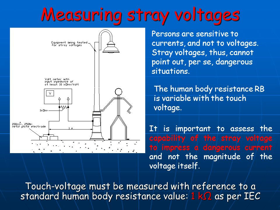 Measuring stray voltages Touch-voltage must be measured with reference to a standard human body resistance value: 1 kΩ as per IEC It is important to a