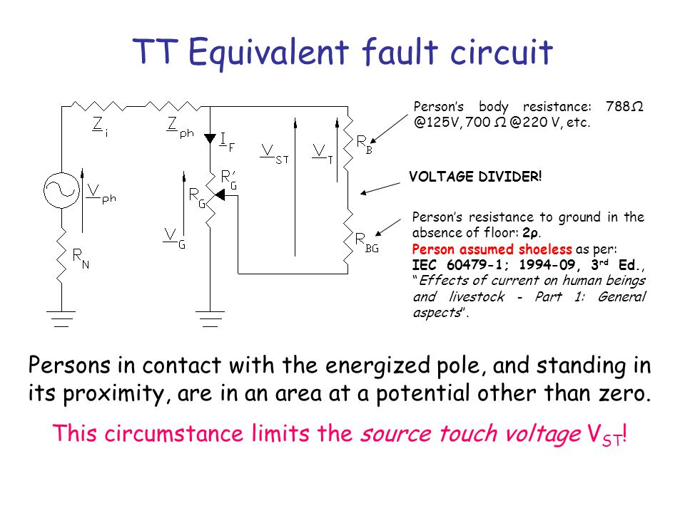 TT Equivalent fault circuit Person's body resistance: 788Ω @125V, 700 Ω @220 V, etc. Person's resistance to ground in the absence of floor: 2ρ. Person
