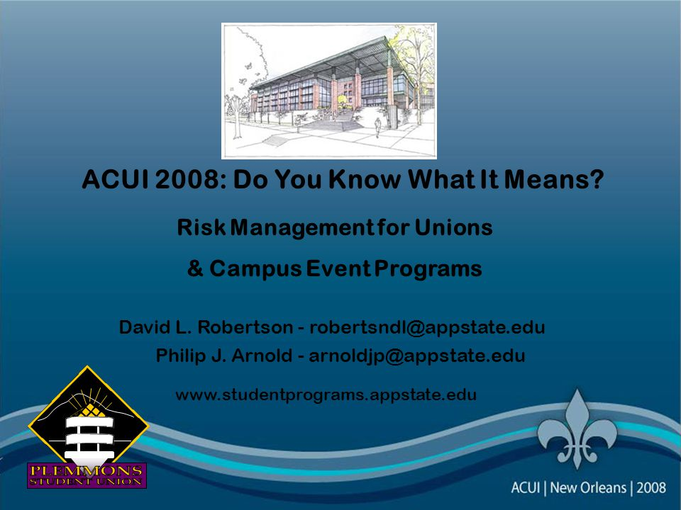 ACUI 2008: Do You Know What It Means. Risk Management for Unions & Campus Event Programs David L.