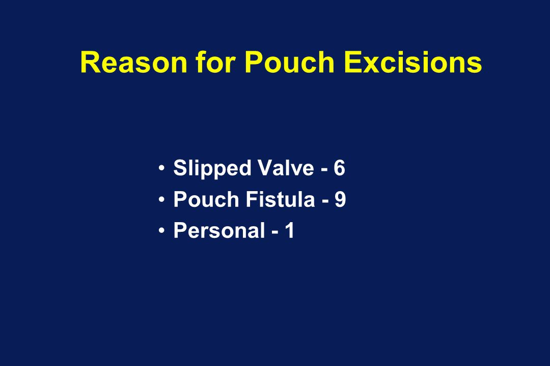 Reason for Pouch Excisions Slipped Valve - 6 Pouch Fistula - 9 Personal - 1