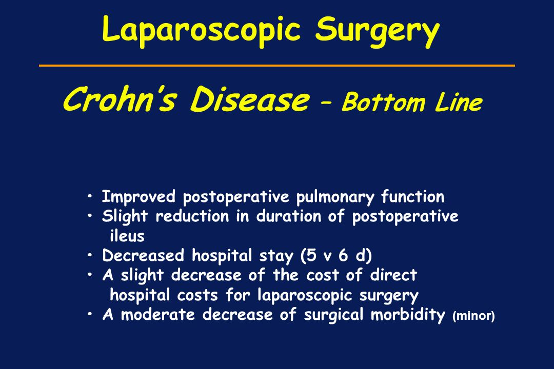 Laparoscopic Surgery Crohn's Disease – Bottom Line Improved postoperative pulmonary function Slight reduction in duration of postoperative ileus Decre