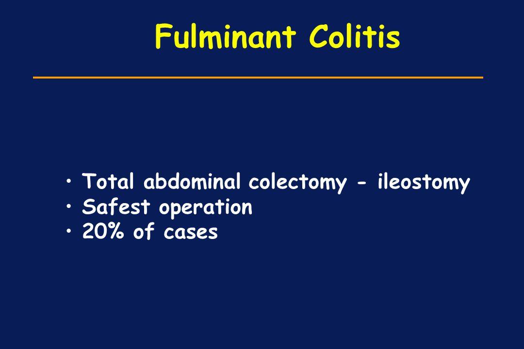 Fulminant Colitis Total abdominal colectomy - ileostomy Safest operation 20% of cases