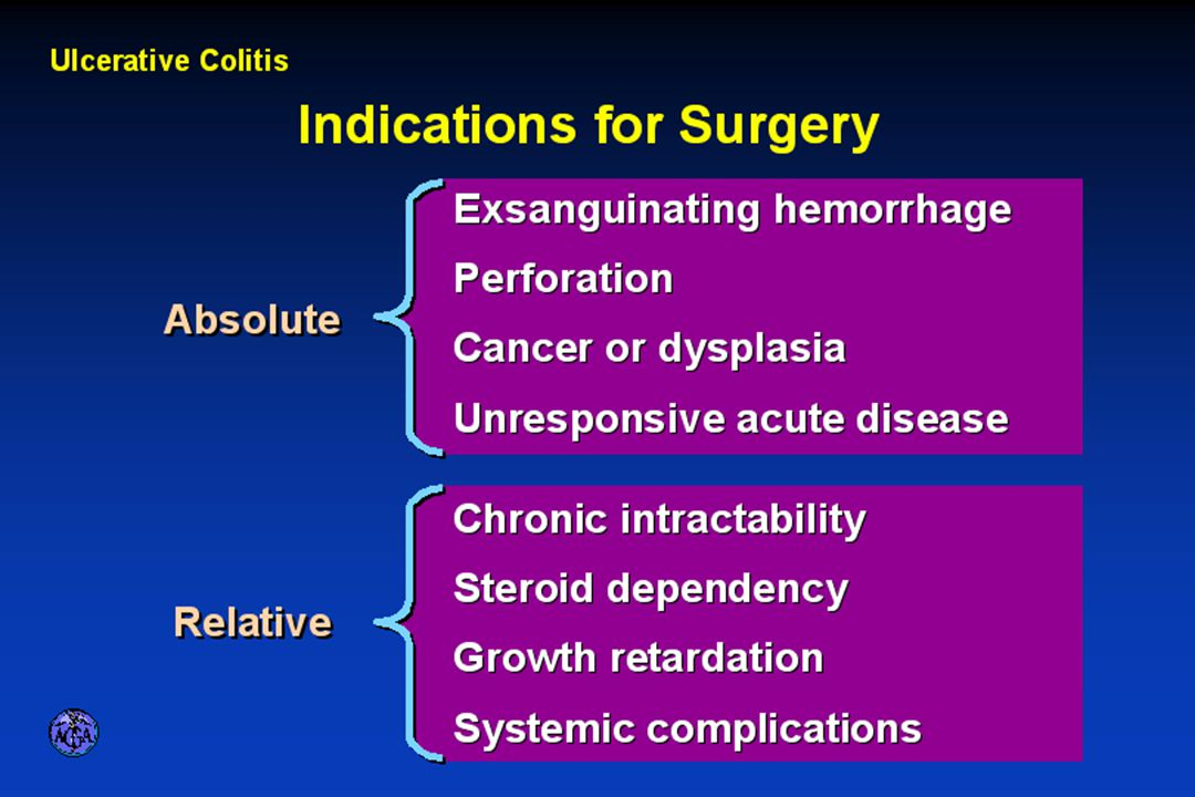 INDICATIONS FOR SURGERY IN ULCERATIVE COLITIS