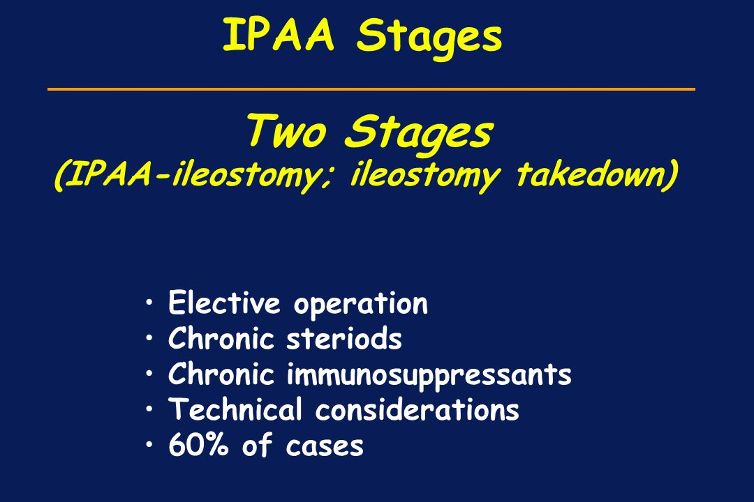 IPAA Stages Two Stages (IPAA-ileostomy; ileostomy takedown) Elective operation Chronic steriods Chronic immunosuppressants Technical considerations 60