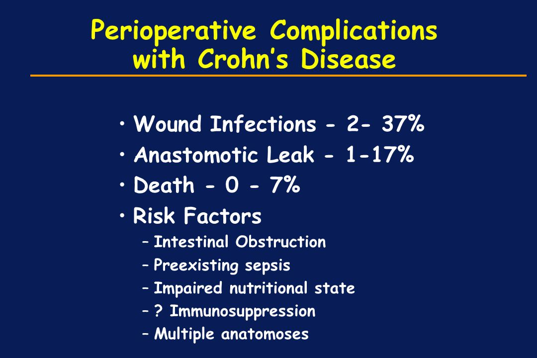 Perioperative Complications with Crohn's Disease Wound Infections - 2- 37% Anastomotic Leak - 1-17% Death - 0 - 7% Risk Factors –Intestinal Obstructio