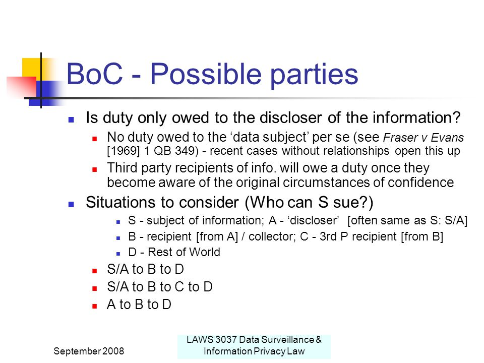 September 2008 LAWS 3037 Data Surveillance & Information Privacy Law BoC - Possible parties Is duty only owed to the discloser of the information.
