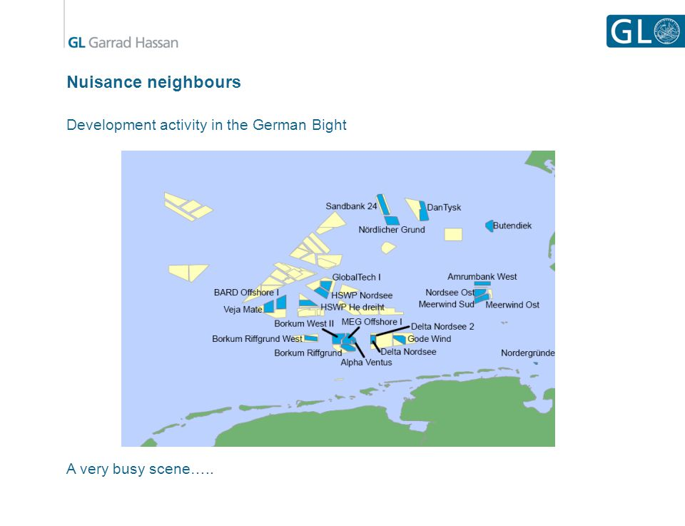Nuisance neighbours Development activity in the German Bight A very busy scene…..
