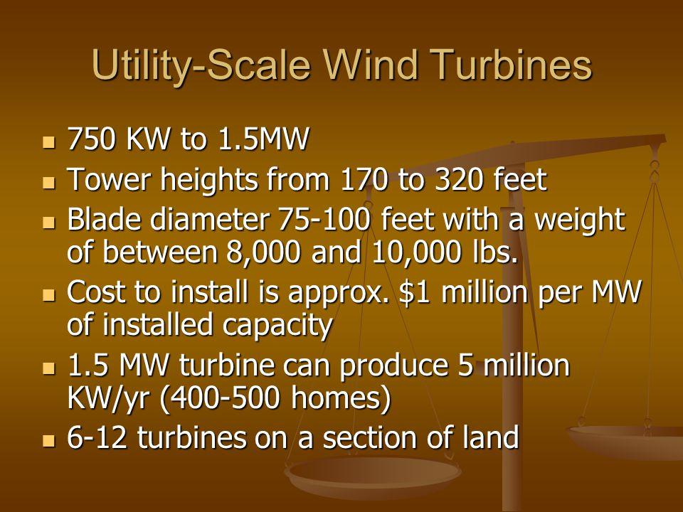 Utility-Scale Wind Turbines 750 KW to 1.5MW 750 KW to 1.5MW Tower heights from 170 to 320 feet Tower heights from 170 to 320 feet Blade diameter 75-10