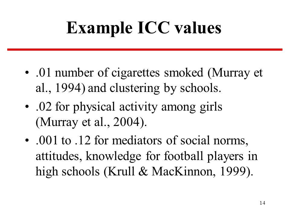 14 Example ICC values.01 number of cigarettes smoked (Murray et al., 1994) and clustering by schools..02 for physical activity among girls (Murray et al., 2004)..001 to.12 for mediators of social norms, attitudes, knowledge for football players in high schools (Krull & MacKinnon, 1999).