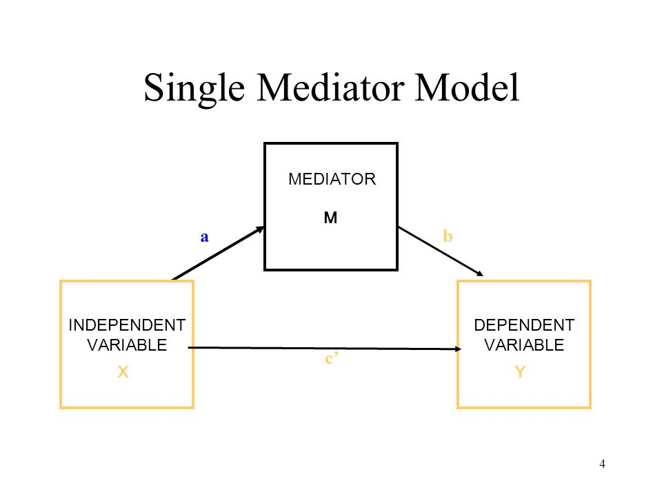 4 Single Mediator Model MEDIATOR M INDEPENDENT VARIABLE XY DEPENDENT VARIABLE ab c'