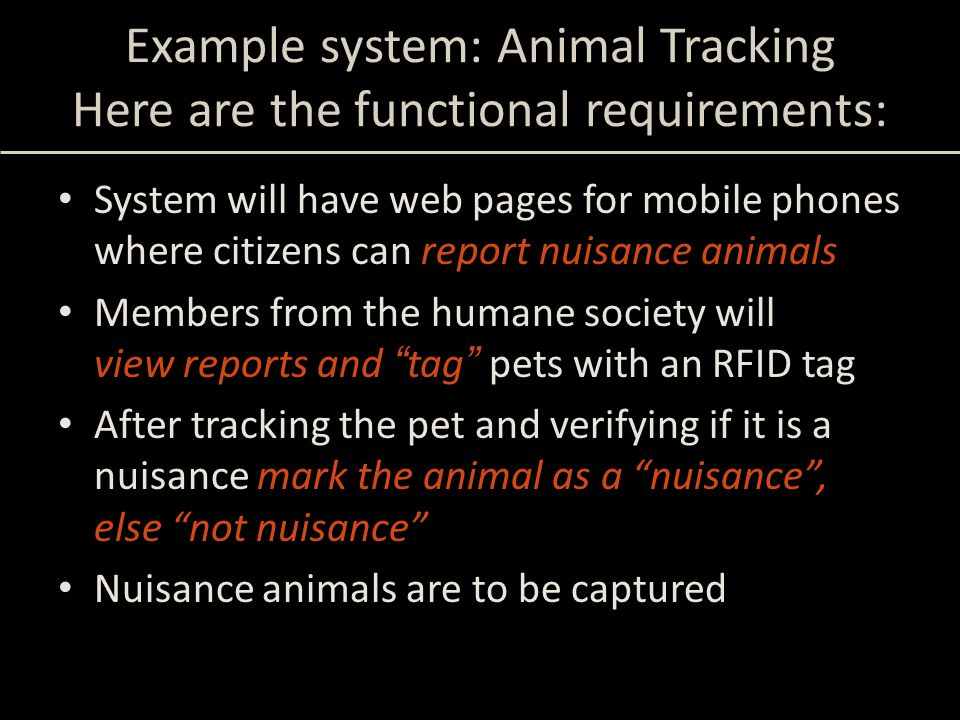 Example system: Animal Tracking Here are the functional requirements: System will have web pages for mobile phones where citizens can report nuisance