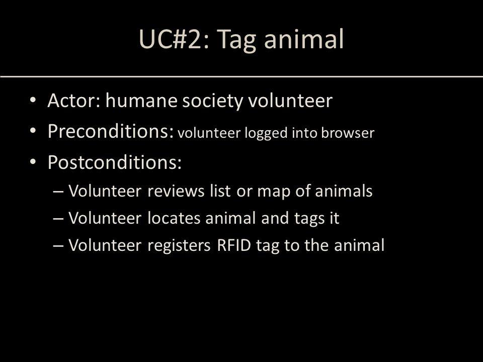 UC#2: Tag animal Actor: humane society volunteer Preconditions: volunteer logged into browser Postconditions: – Volunteer reviews list or map of anima
