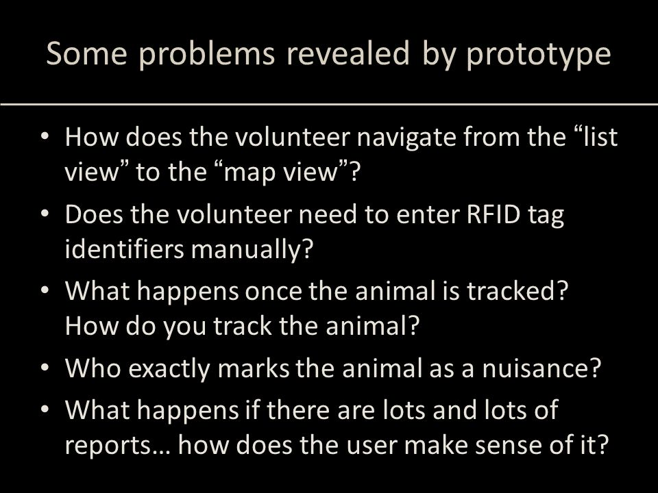 """Some problems revealed by prototype How does the volunteer navigate from the """"list view"""" to the """"map view""""? Does the volunteer need to enter RFID tag"""
