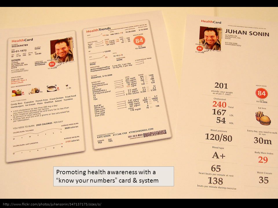 http://www.flickr.com/photos/juhansonin/347137175/sizes/o/ Promoting health awareness with a know your numbers card & system