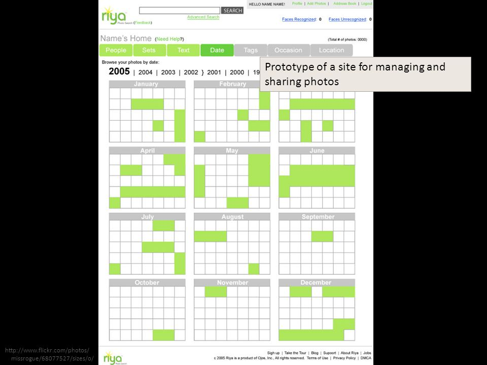 Prototype of a site for managing and sharing photos http://www.flickr.com/photos/ missrogue/68077527/sizes/o/