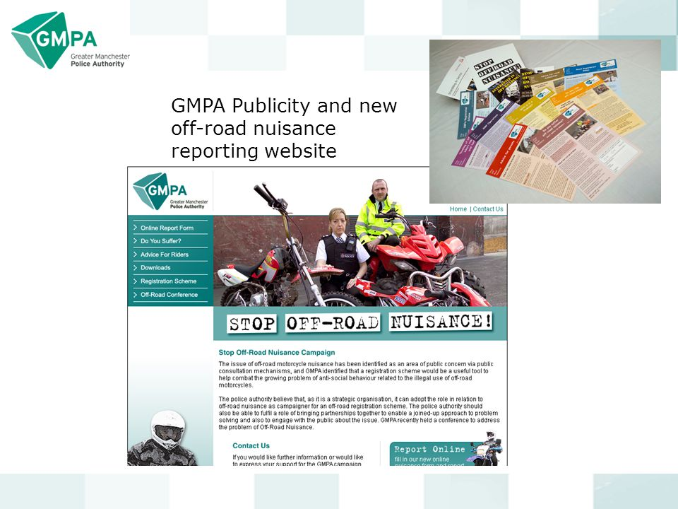 GMPA Publicity and new off-road nuisance reporting website