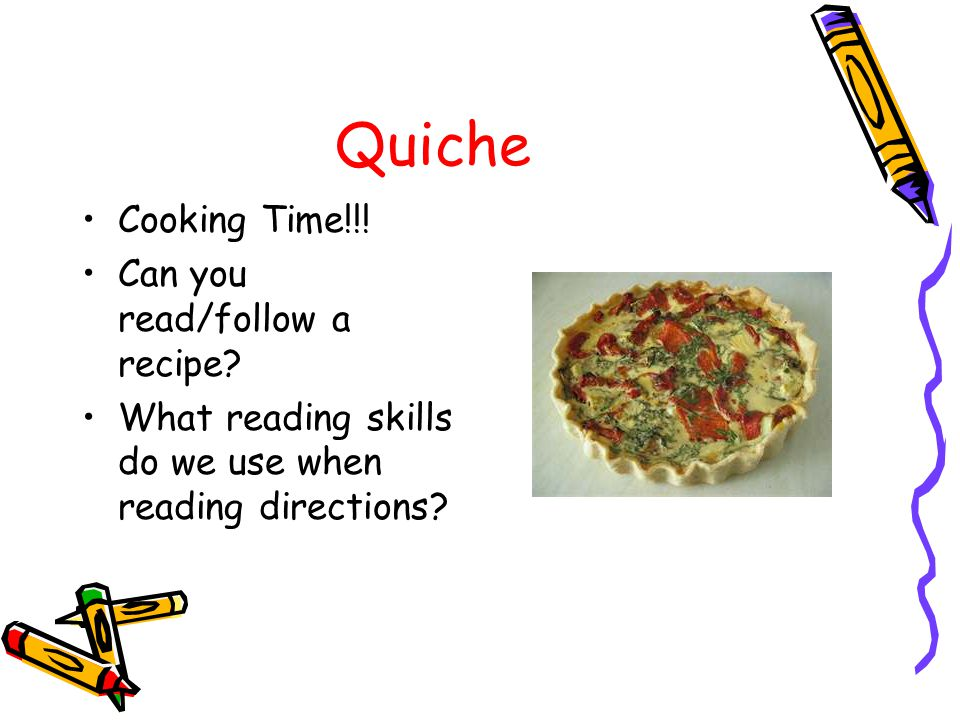 Quiche Cooking Time!!. Can you read/follow a recipe.