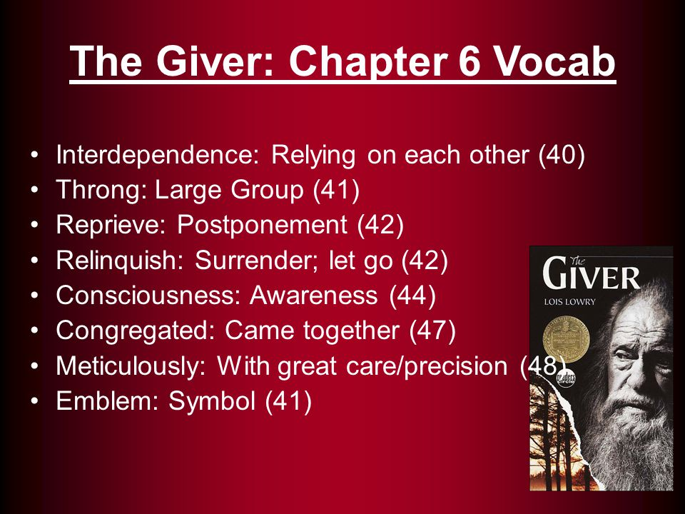 The Giver: Chapter 6 Vocab Indulgently: Unrestrained pleasure (42) Exuberant: Extreme; excessive (45) Infringed: Encroach (45) Disposition: Prevailing mood (48) Scrupulously: Having moral integrity (48)