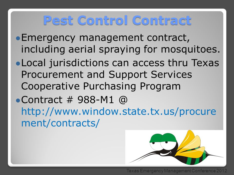 ● Emergency management contract, including aerial spraying for mosquitoes.