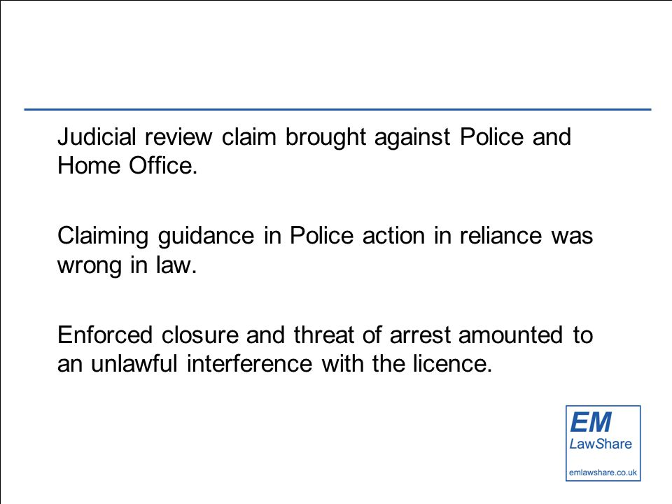 Judicial review claim brought against Police and Home Office.