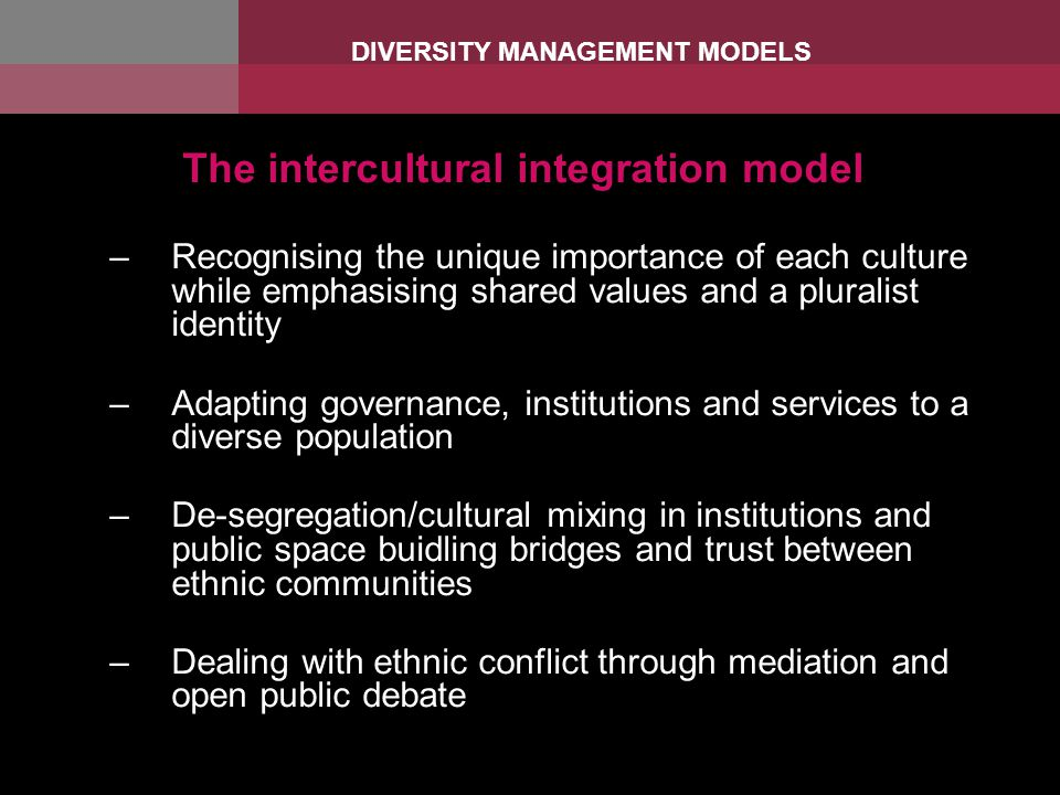 The intercultural integration model –Recognising the unique importance of each culture while emphasising shared values and a pluralist identity –Adapting governance, institutions and services to a diverse population –De-segregation/cultural mixing in institutions and public space buidling bridges and trust between ethnic communities –Dealing with ethnic conflict through mediation and open public debate DIVERSITY MANAGEMENT MODELS