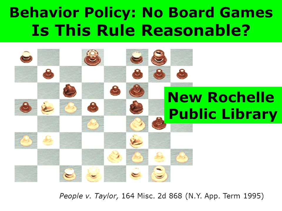 Behavior Policy: No Board Games Is This Rule Reasonable.