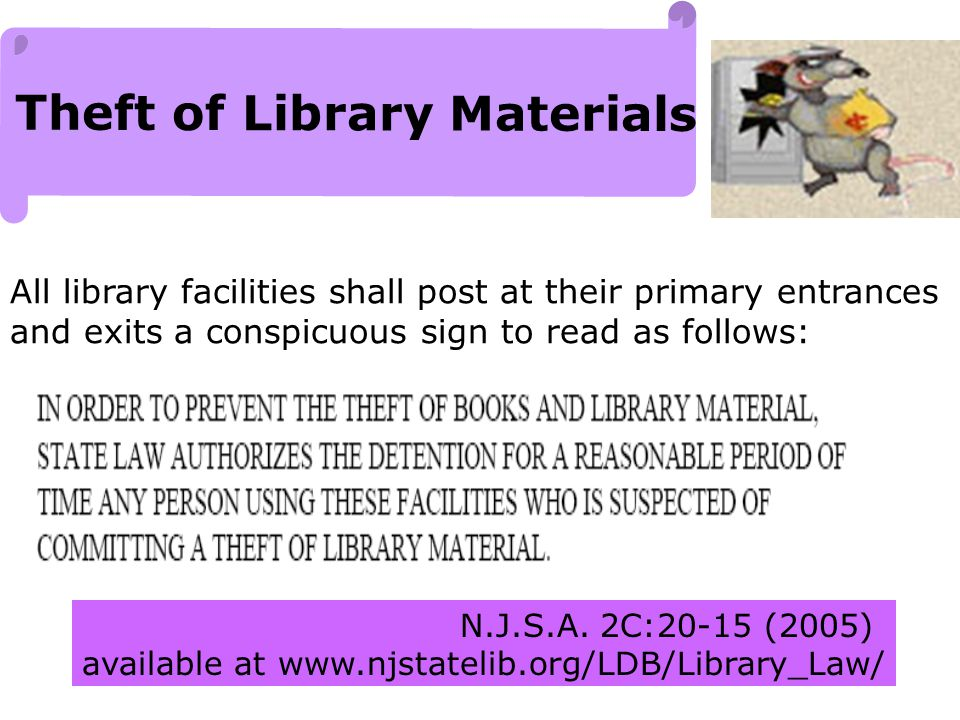 Theft of Library Materials N.J.S.A.