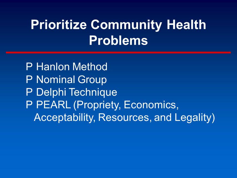 Prioritize Community Health Problems P Hanlon Method P Nominal Group P Delphi Technique P PEARL (Propriety, Economics, Acceptability, Resources, and Legality)
