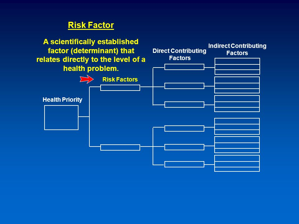 Risk Factors Health Priority Indirect Contributing Factors Direct Contributing Factors Risk Factor A scientifically established factor (determinant) that relates directly to the level of a health problem.