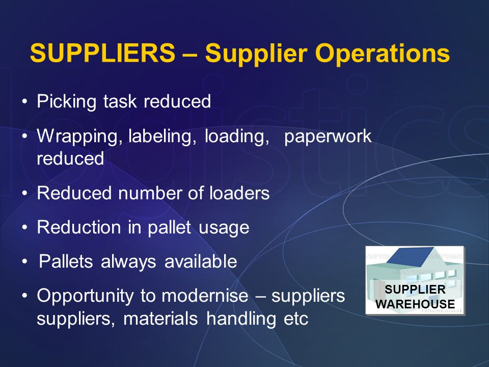 SUPPLIERS – Supplier Operations Picking task reduced Wrapping, labeling, loading, paperwork reduced Reduced number of loaders Reduction in pallet usage Pallets always available Opportunity to modernise – suppliers suppliers, materials handling etc SUPPLIER WAREHOUSE SUPPLIER WAREHOUSE
