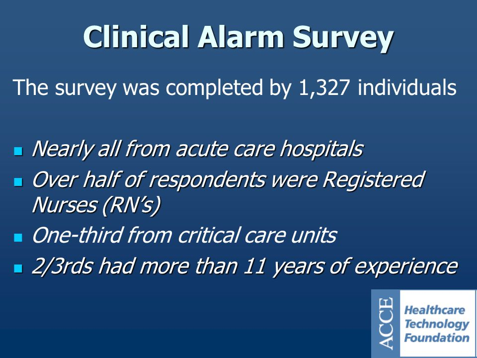 The survey was completed by 1,327 individuals Nearly all from acute care hospitals Nearly all from acute care hospitals Over half of respondents were Registered Nurses (RN's) Over half of respondents were Registered Nurses (RN's) One-third from critical care units 2/3rds had more than 11 years of experience 2/3rds had more than 11 years of experience Clinical Alarm Survey