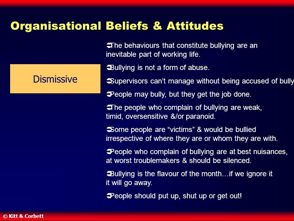 © Kitt & Corbett Organisational Beliefs & Attitudes Dismissive  The behaviours that constitute bullying are an inevitable part of working life.  Bul