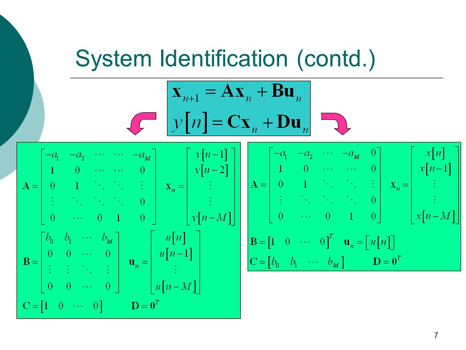 7 System Identification (contd.)
