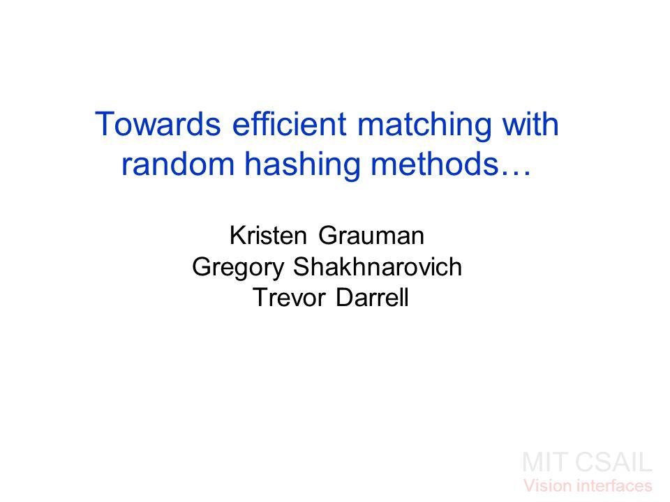 MIT CSAIL Vision interfaces Towards efficient matching with random hashing methods… Kristen Grauman Gregory Shakhnarovich Trevor Darrell