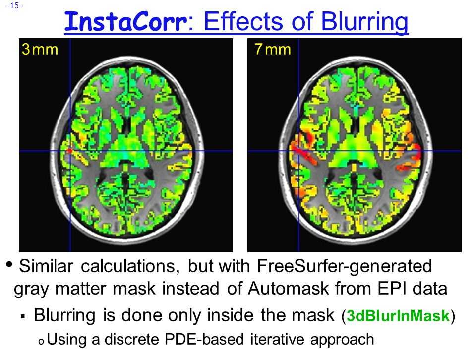 –15– InstaCorr : Effects of Blurring Similar calculations, but with FreeSurfer-generated gray matter mask instead of Automask from EPI data  Blurring is done only inside the mask (3dBlurInMask) o Using a discrete PDE-based iterative approach 3 mm 7 mm