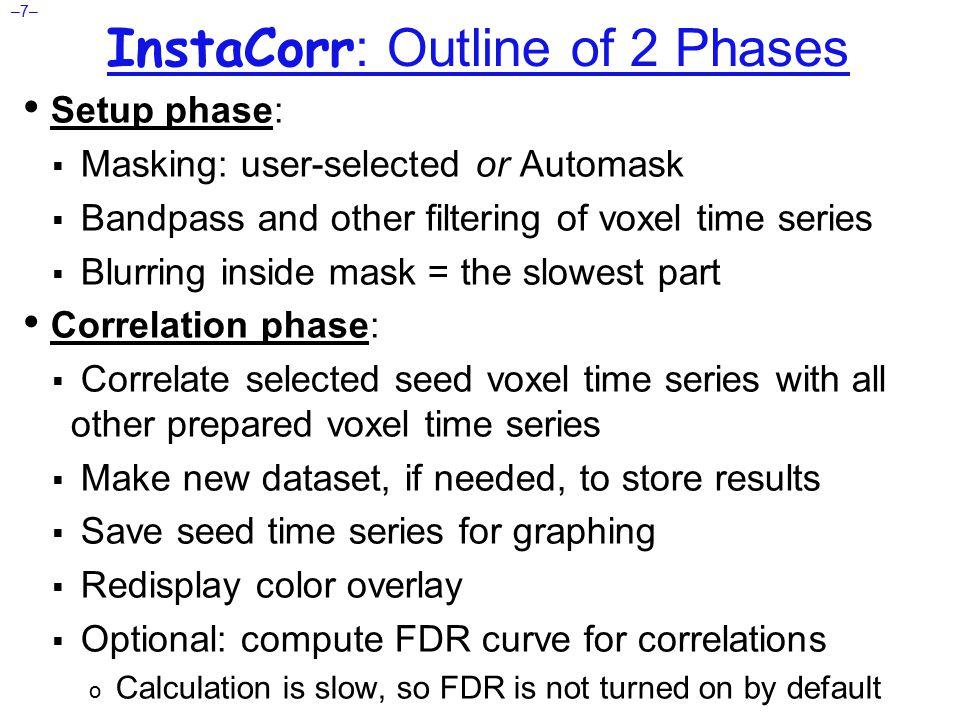 –8– InstaCorr : Setup Open Define Overlay, choose InstaCorr from menu in top right corner