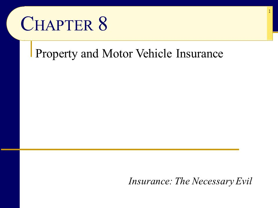 1 C HAPTER 8 Property and Motor Vehicle Insurance Insurance: The Necessary Evil
