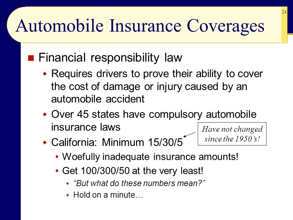 24 Automobile Insurance Coverages Financial responsibility law  Requires drivers to prove their ability to cover the cost of damage or injury caused