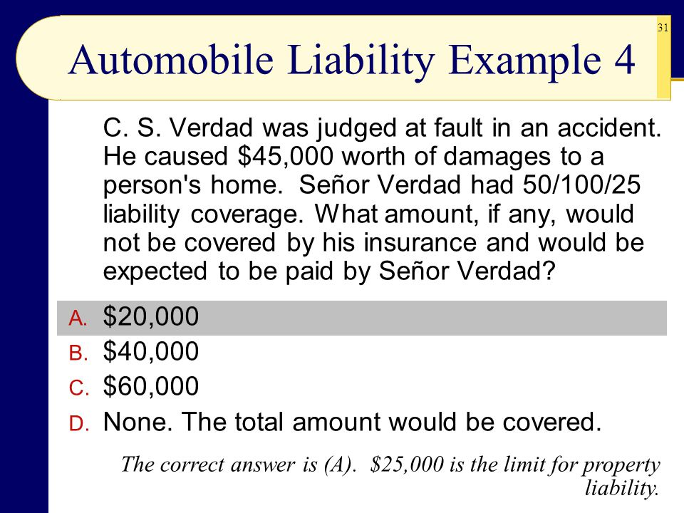 31 Automobile Liability Example 4 C. S. Verdad was judged at fault in an accident. He caused $45,000 worth of damages to a person's home. Señor Verdad