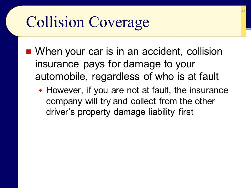 37 Collision Coverage When your car is in an accident, collision insurance pays for damage to your automobile, regardless of who is at fault  However