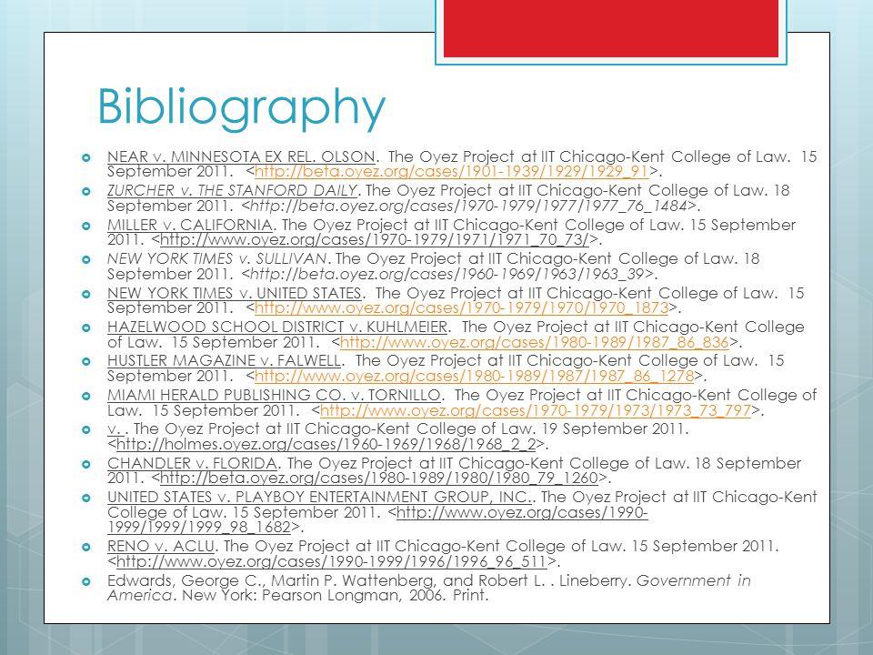 Bibliography  NEAR v. MINNESOTA EX REL. OLSON.