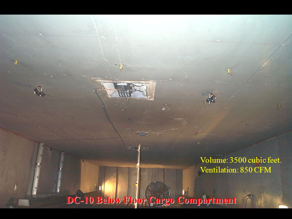 DC-10 Below Floor Cargo Compartment Volume: 3500 cubic feet. Ventilation: 850 CFM