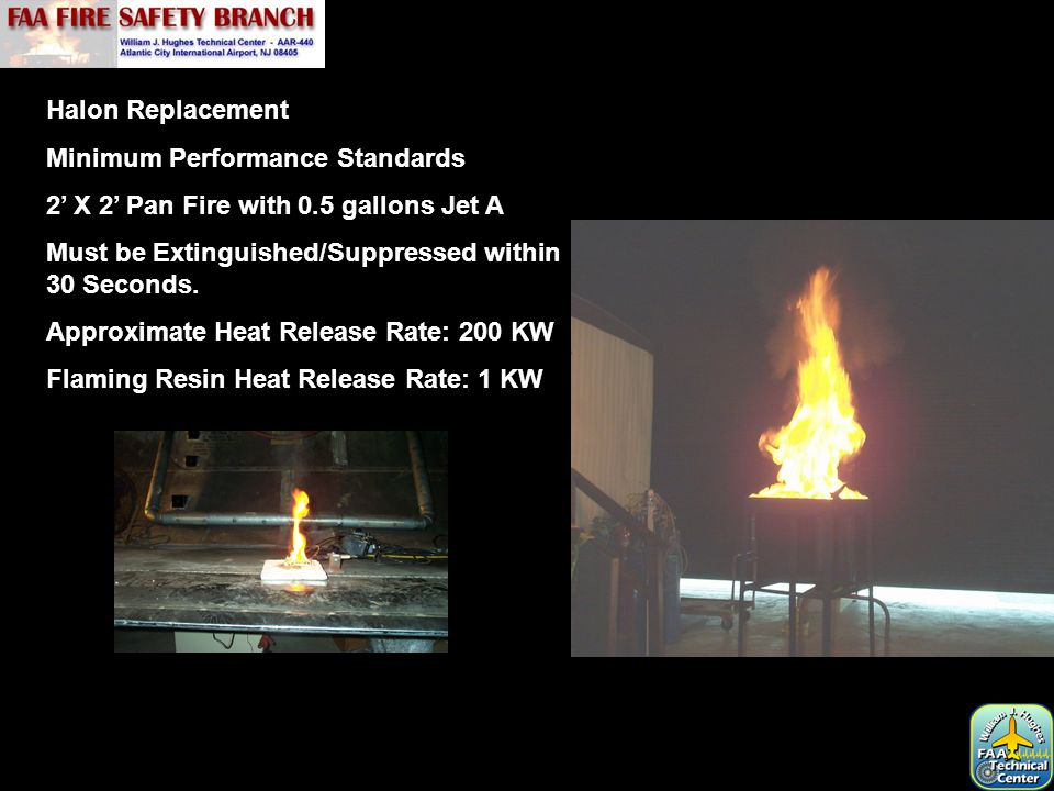 Halon Replacement Minimum Performance Standards 2' X 2' Pan Fire with 0.5 gallons Jet A Must be Extinguished/Suppressed within 30 Seconds. Approximate