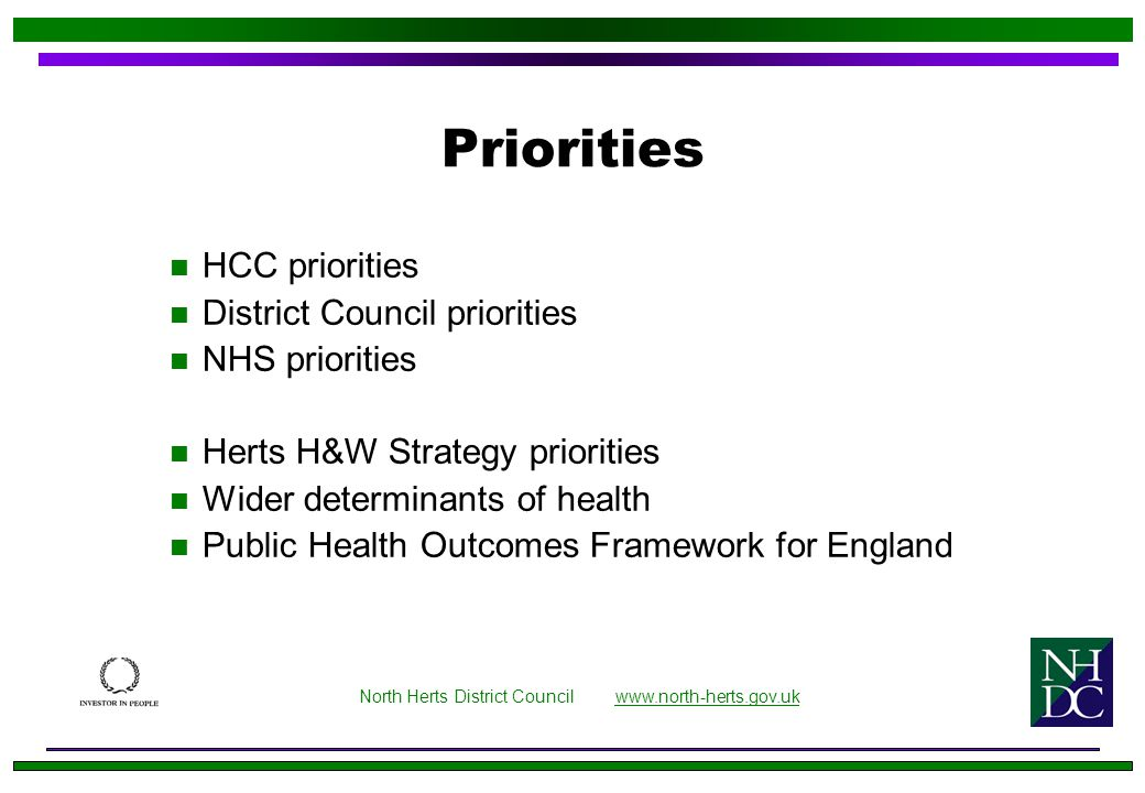 Priorities n HCC priorities n District Council priorities n NHS priorities n Herts H&W Strategy priorities n Wider determinants of health n Public Health Outcomes Framework for England North Herts District Council www.north-herts.gov.ukwww.north-herts.gov.uk