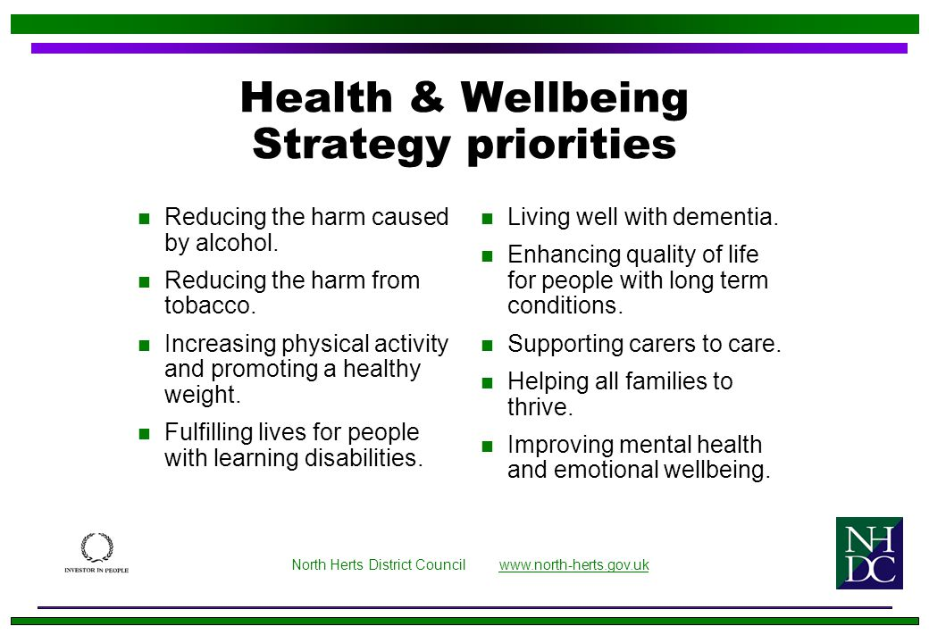 Health & Wellbeing Strategy priorities n Reducing the harm caused by alcohol.