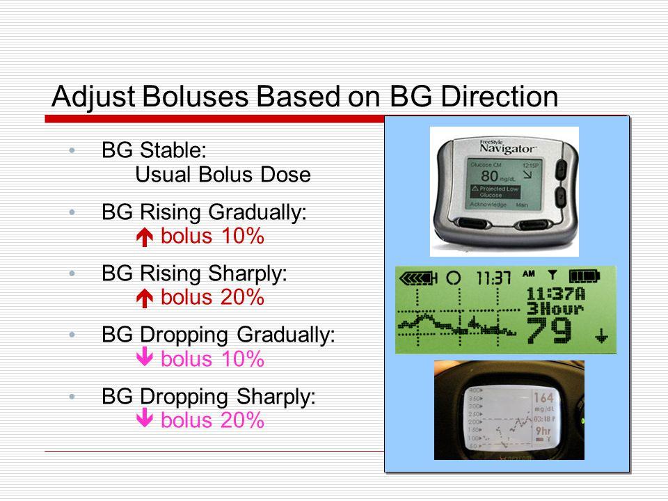 Adjust Boluses Based on BG Direction BG Stable: Usual Bolus Dose BG Rising Gradually:  bolus 10% BG Rising Sharply:  bolus 20% BG Dropping Gradually
