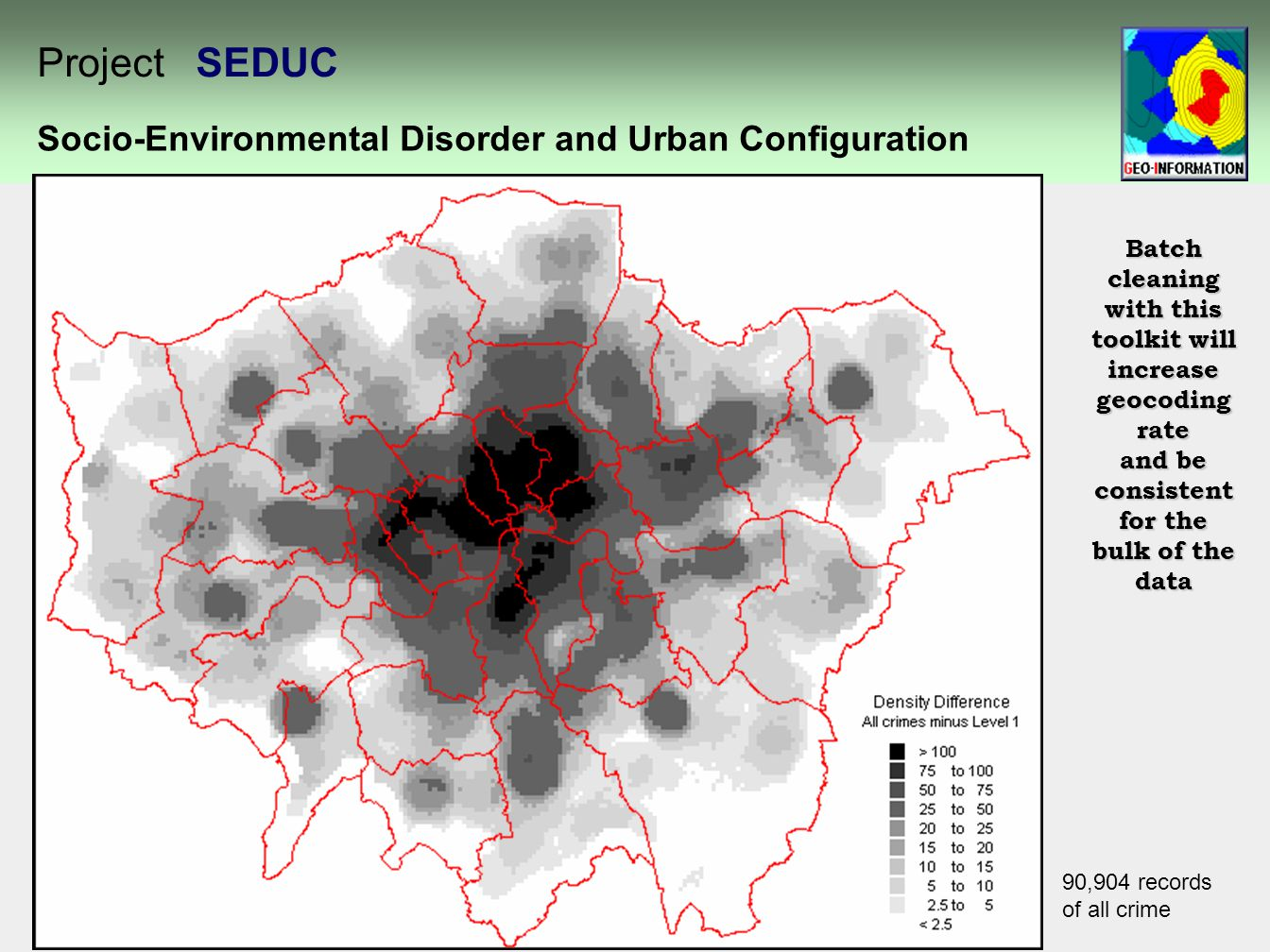 90,904 records of all crime Batch cleaning with this toolkit will increase geocoding rate and be consistent for the bulk of the data Socio-Environmental Disorder and Urban Configuration Project SEDUC
