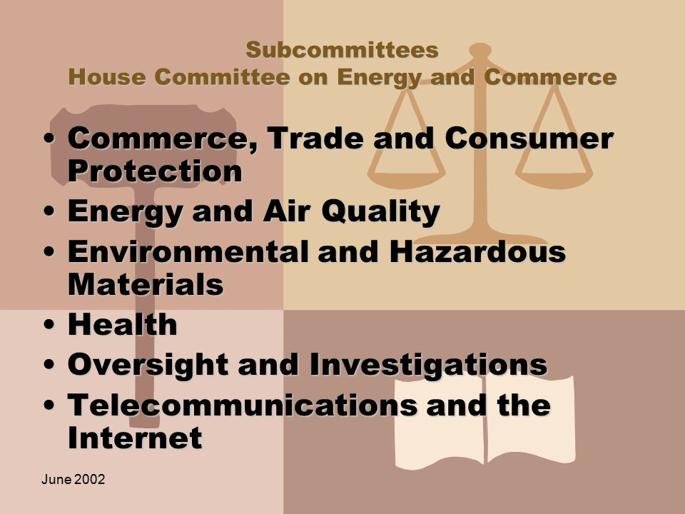 June 2002 Subcommittees House Committee on Energy and Commerce Commerce, Trade and Consumer ProtectionCommerce, Trade and Consumer Protection Energy and Air QualityEnergy and Air Quality Environmental and Hazardous MaterialsEnvironmental and Hazardous Materials HealthHealth Oversight and InvestigationsOversight and Investigations Telecommunications and the InternetTelecommunications and the Internet