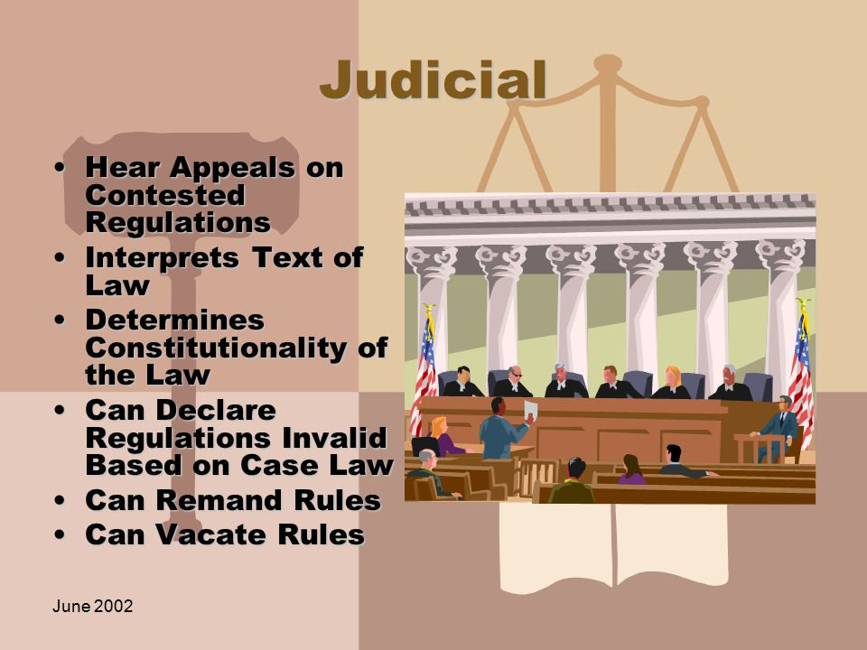 June 2002 Judicial Hear Appeals on Contested RegulationsHear Appeals on Contested Regulations Interprets Text of LawInterprets Text of Law Determines Constitutionality of the LawDetermines Constitutionality of the Law Can Declare Regulations Invalid Based on Case LawCan Declare Regulations Invalid Based on Case Law Can Remand RulesCan Remand Rules Can Vacate RulesCan Vacate Rules