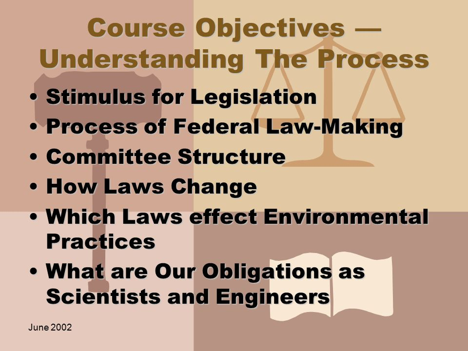 June 2002 You will learn to use the law You will not become a lawyer in this classYou will not become a lawyer in this class You will be able to research and understand the laws and the processes that make the lawsYou will be able to research and understand the laws and the processes that make the laws